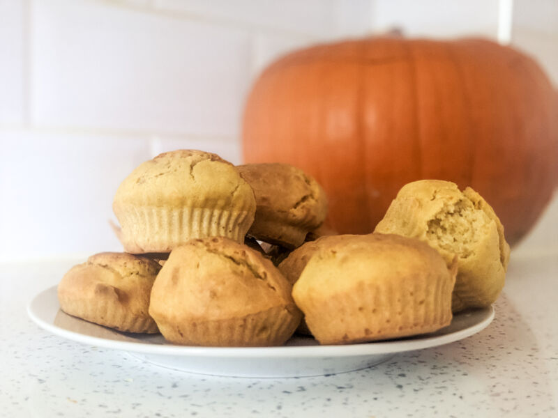 Plate of baby weaning pumpkin muffins
