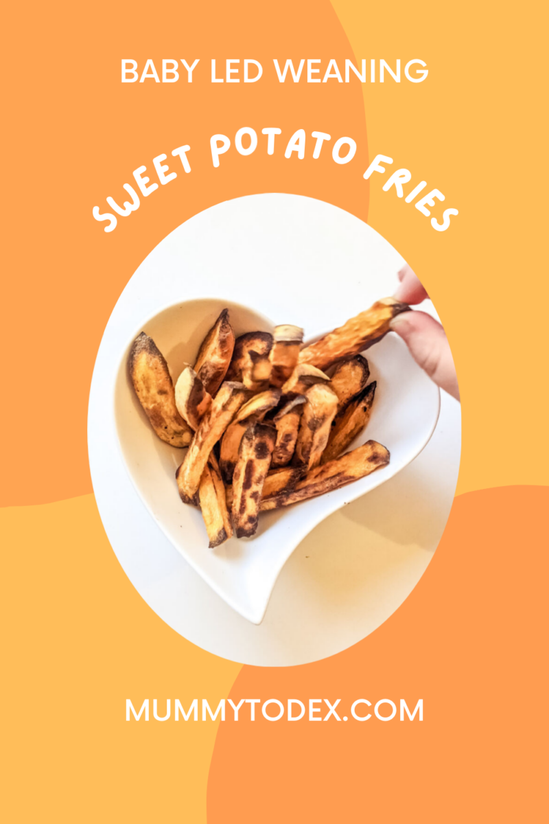 Delicious baby led weaning sweet potato fries. The perfect finger food for your baby. These sweet potato fries for babies are a lovely way to introduce sweet potato to your baby who may be baby led weaning or starting fingers food. For more sweet potato baby recipes, visit mummytodex.com