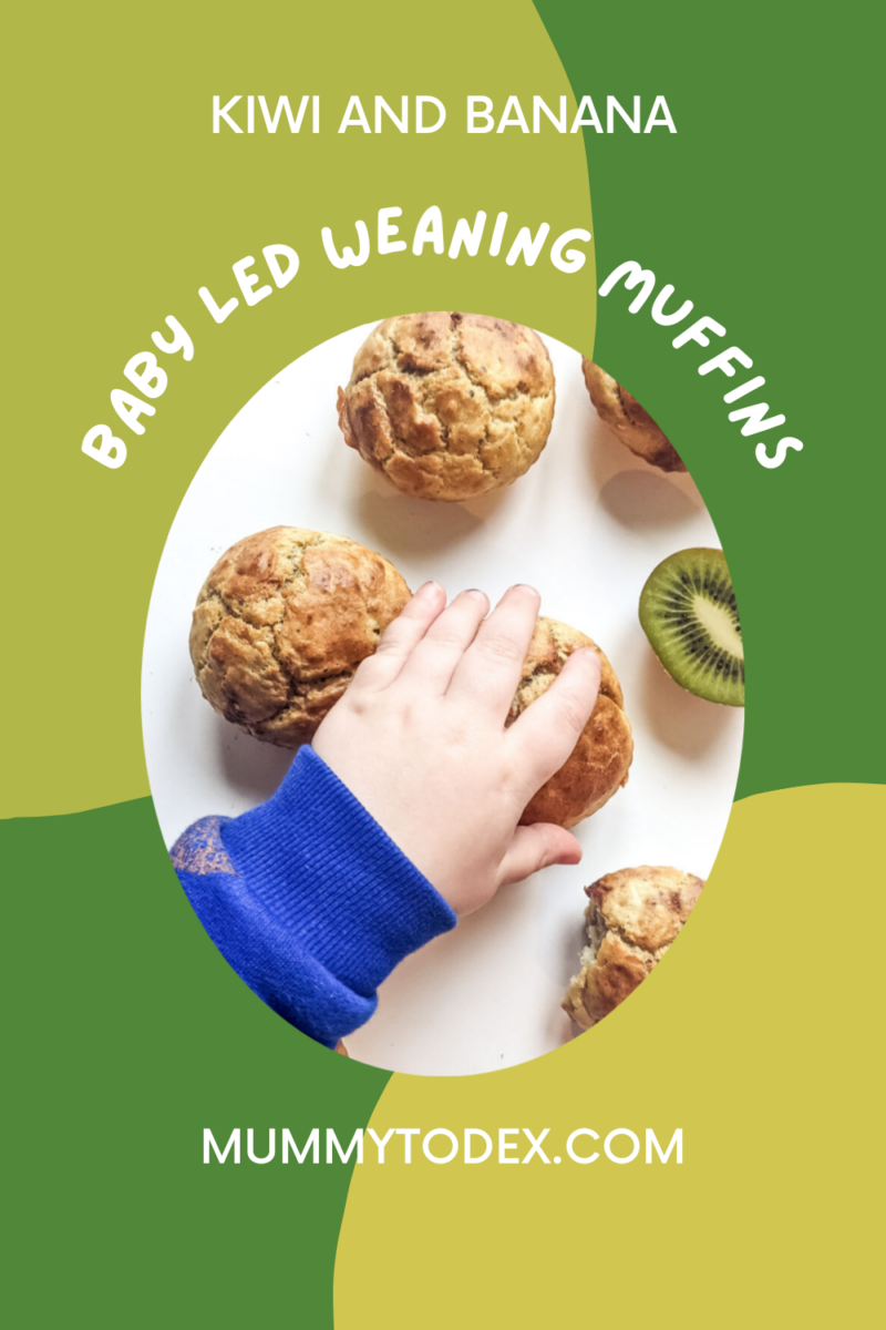 Delicious and most baby led weaning muffins using banana and kiwi to create moist and yummy baby led weaning snack. For more baby led weaning recipes, follow Mummy to Dex