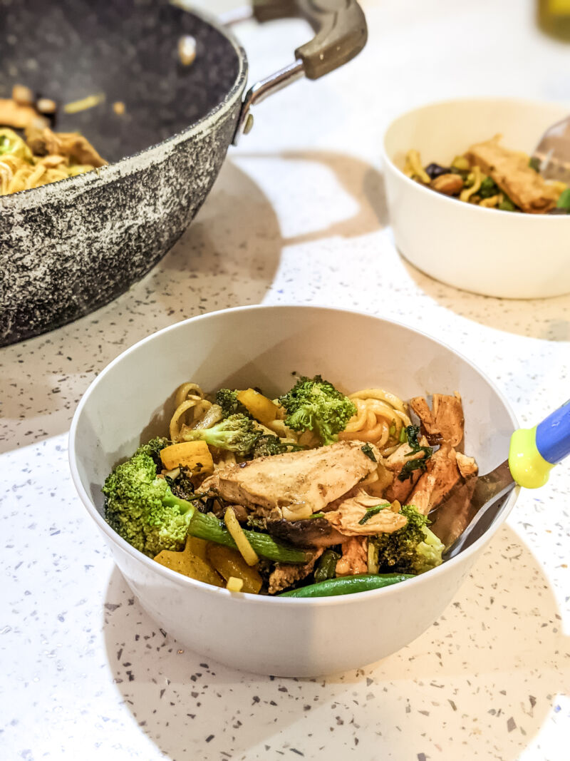 Chicken noodles for toddlers in a bowl
