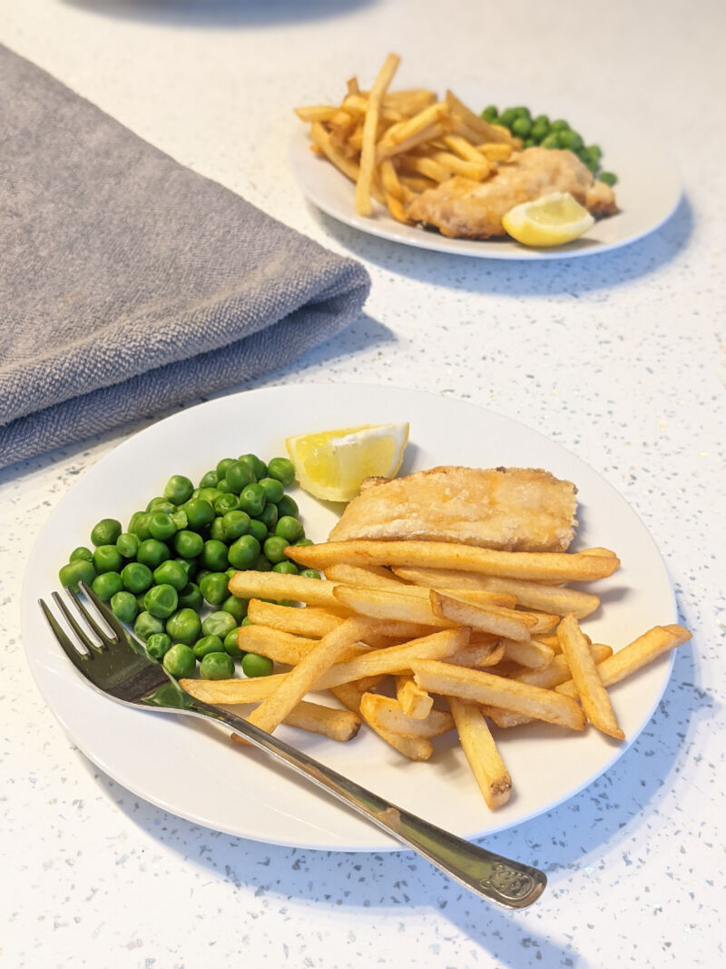 fish and chips for kids on a plate