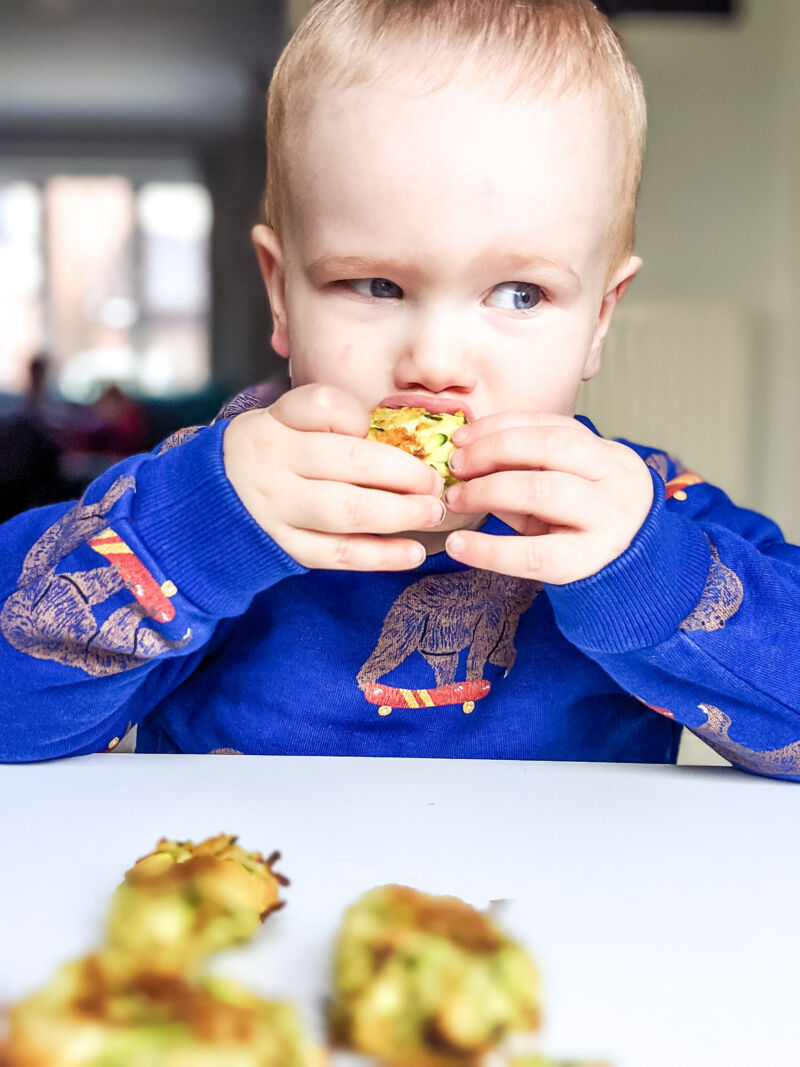 Felix eating the courgette bites
