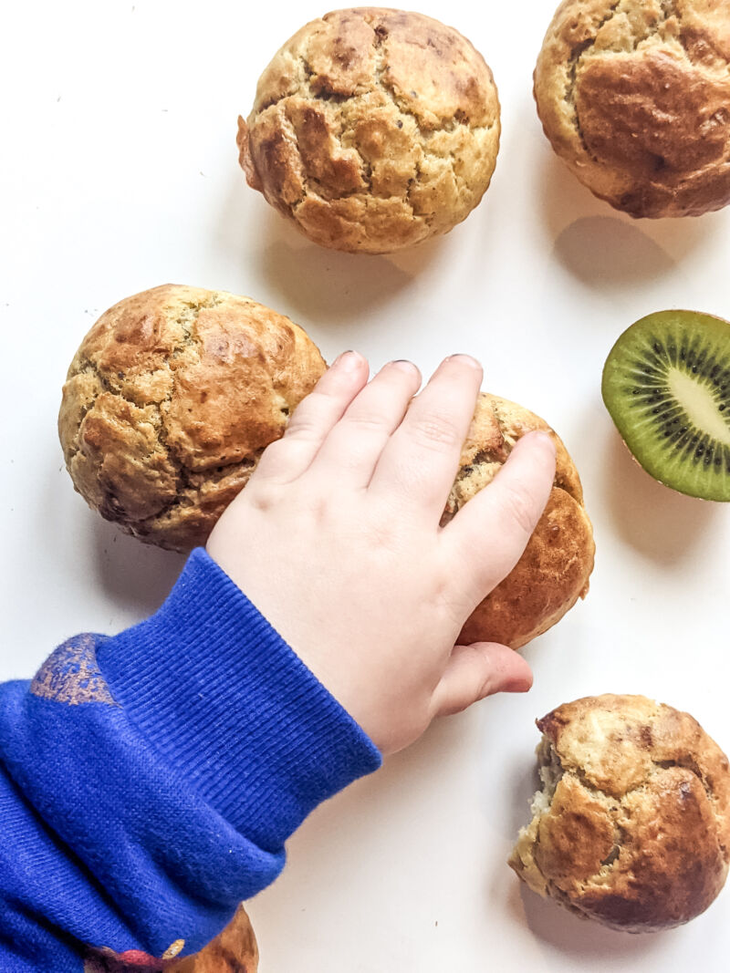 Felix holding a kiwi muffin for babies