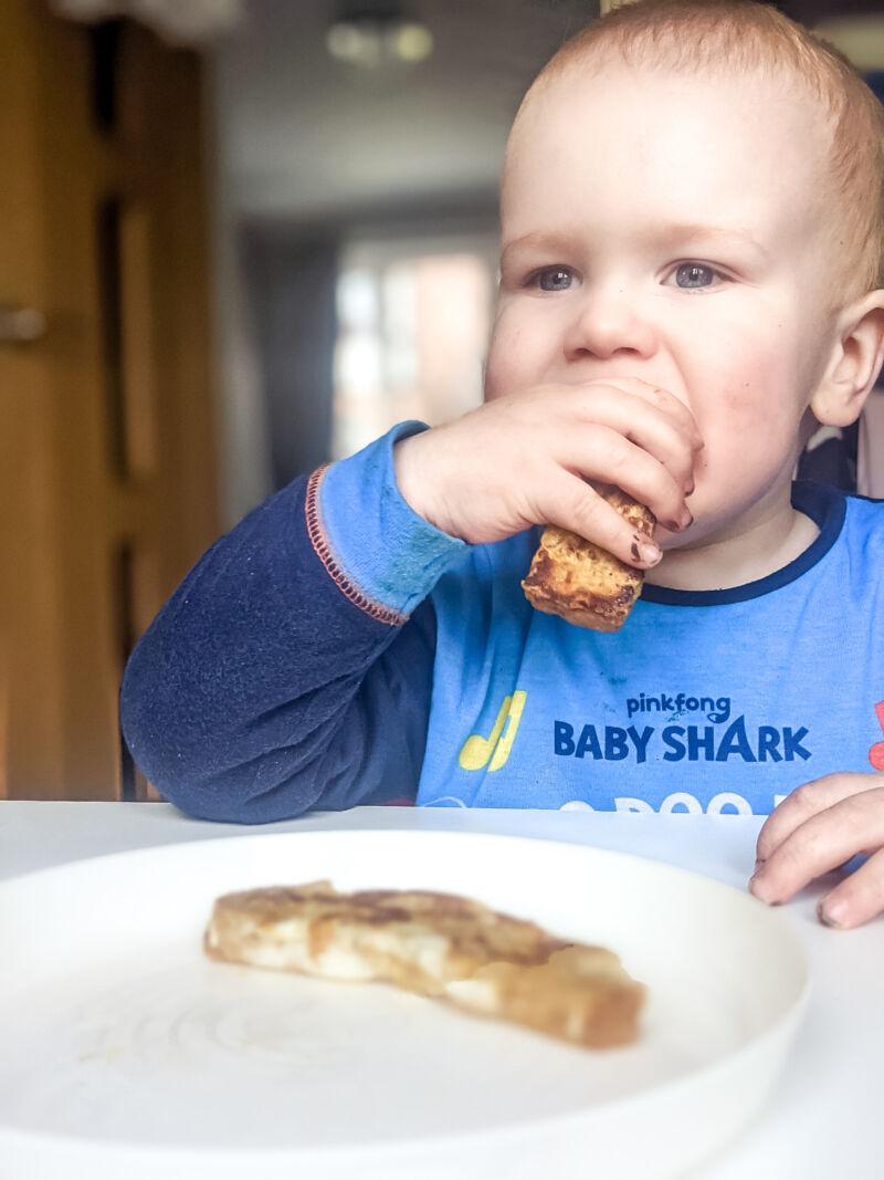 felix eating eggy bread baby
