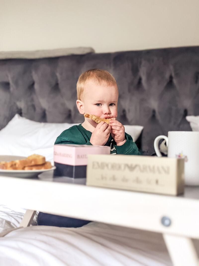 Felix eating toast