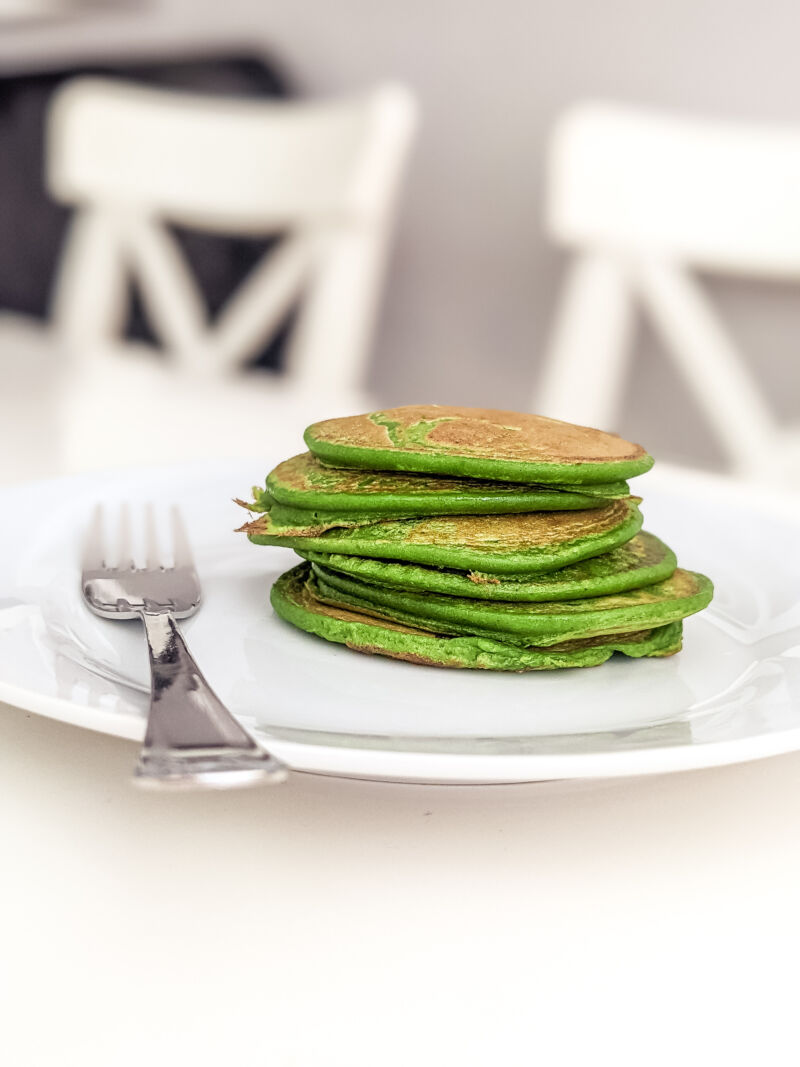 spinach pancakes for babies on a plate