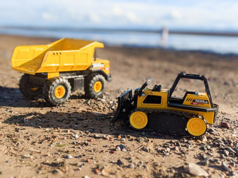 The Tonka trucks at the beach