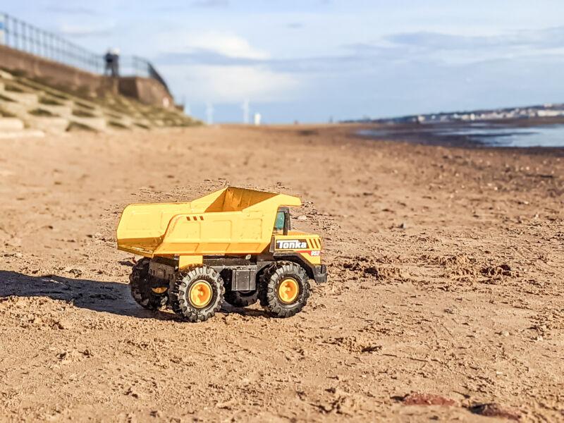 Tonka Dump truck looks out to sea