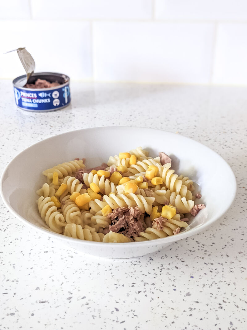 tuna pasta salad for babies and toddlers in a white bowl