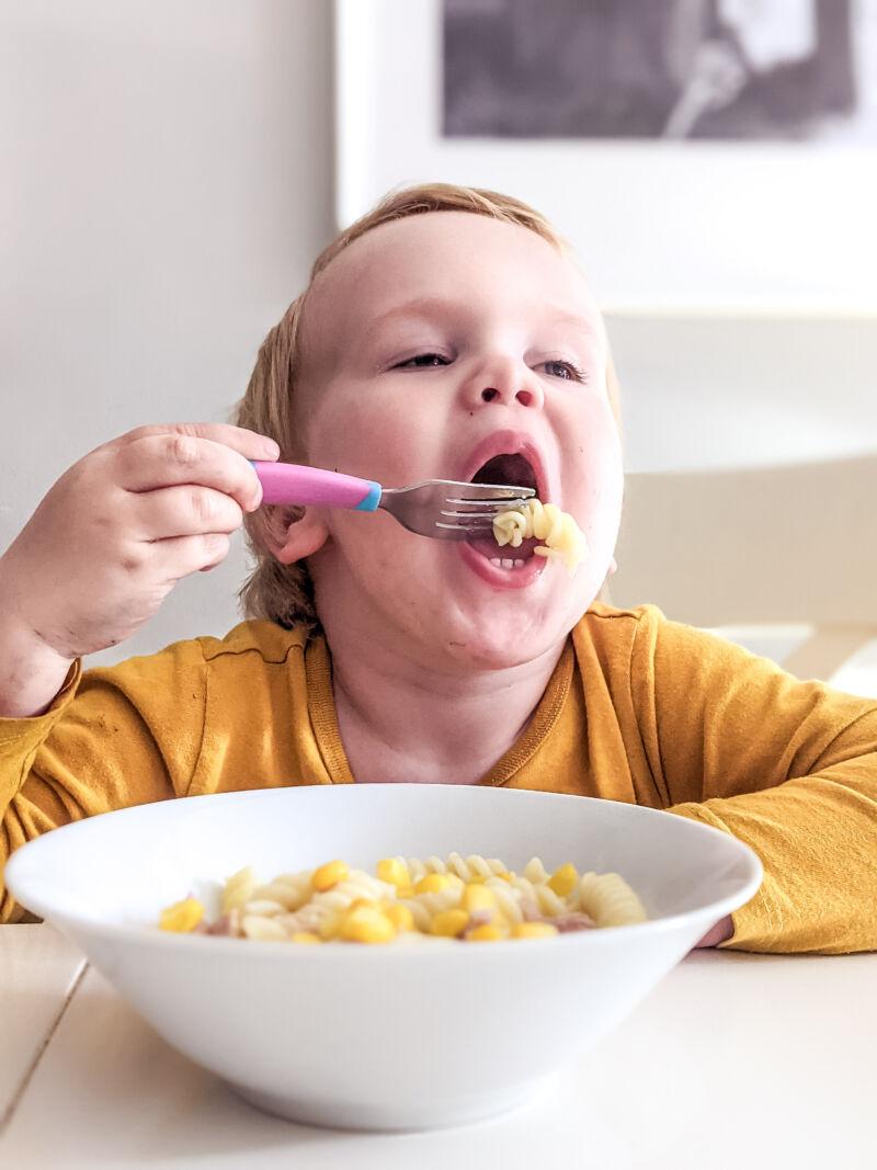 felix eating tuna pasta salad for babies