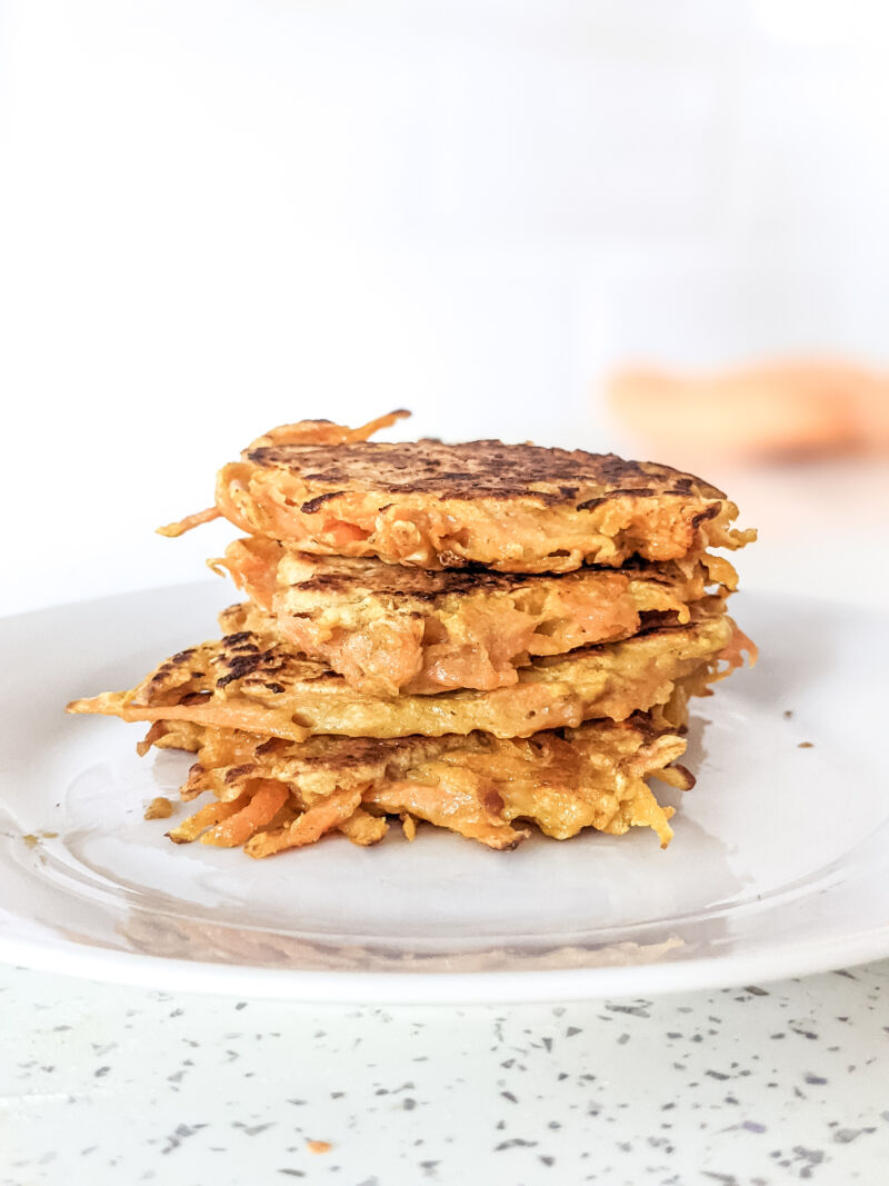 stack of sweet potato fritters