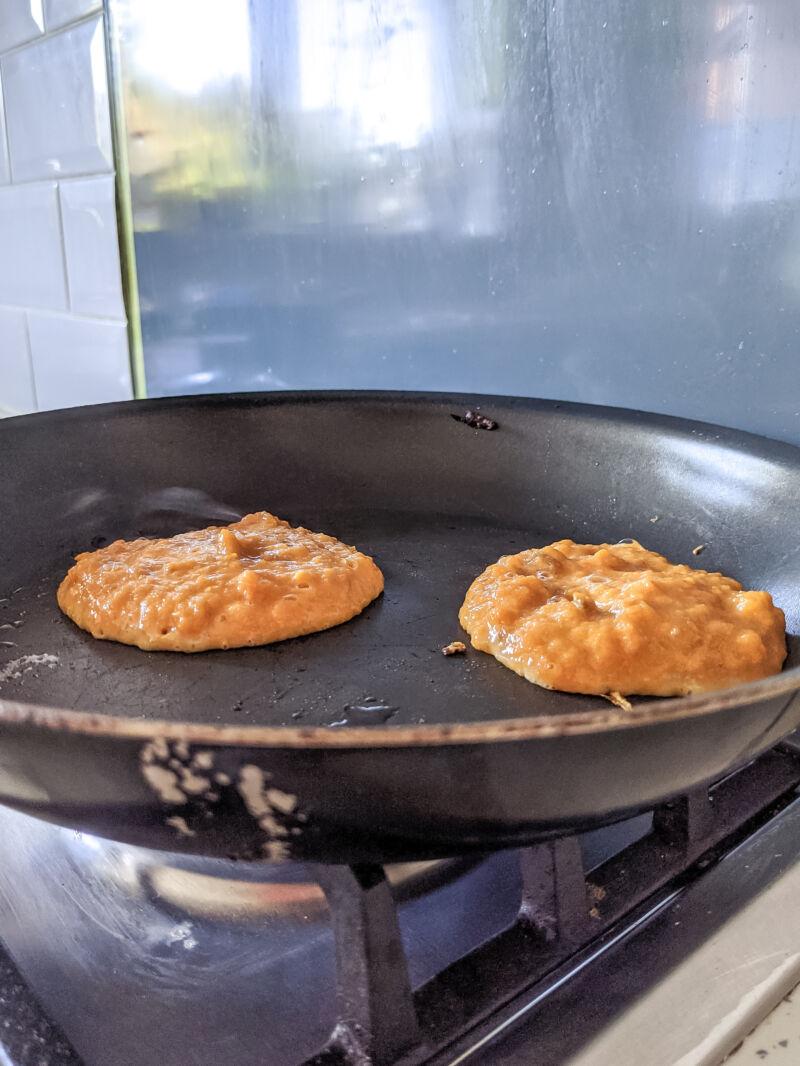 sweet potato pancakes in the frying pan