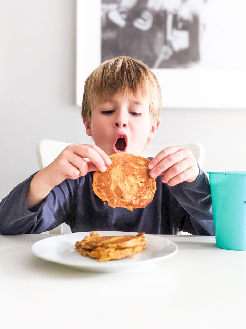 dexter eating sweet potato pancakes