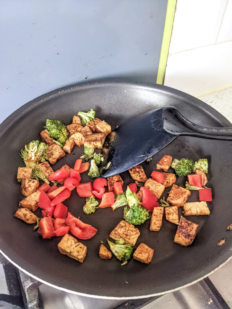 tofu fried rice for kids cooking in the pam