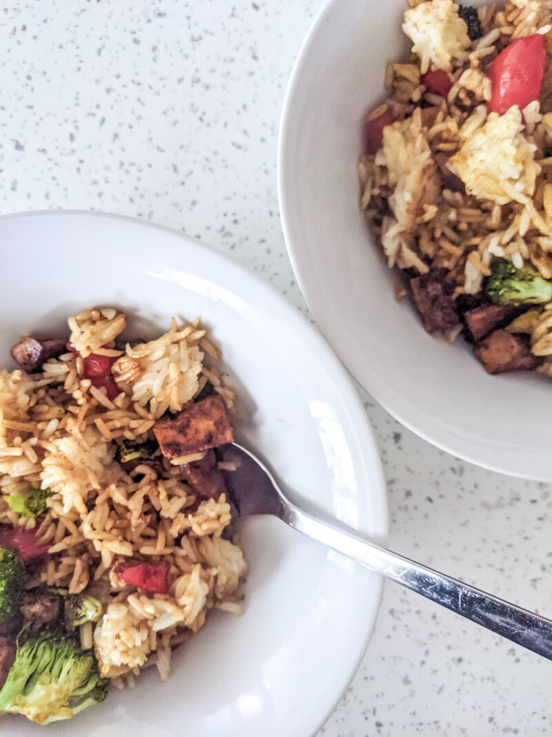 tofu fried rice for kids in two bowls
