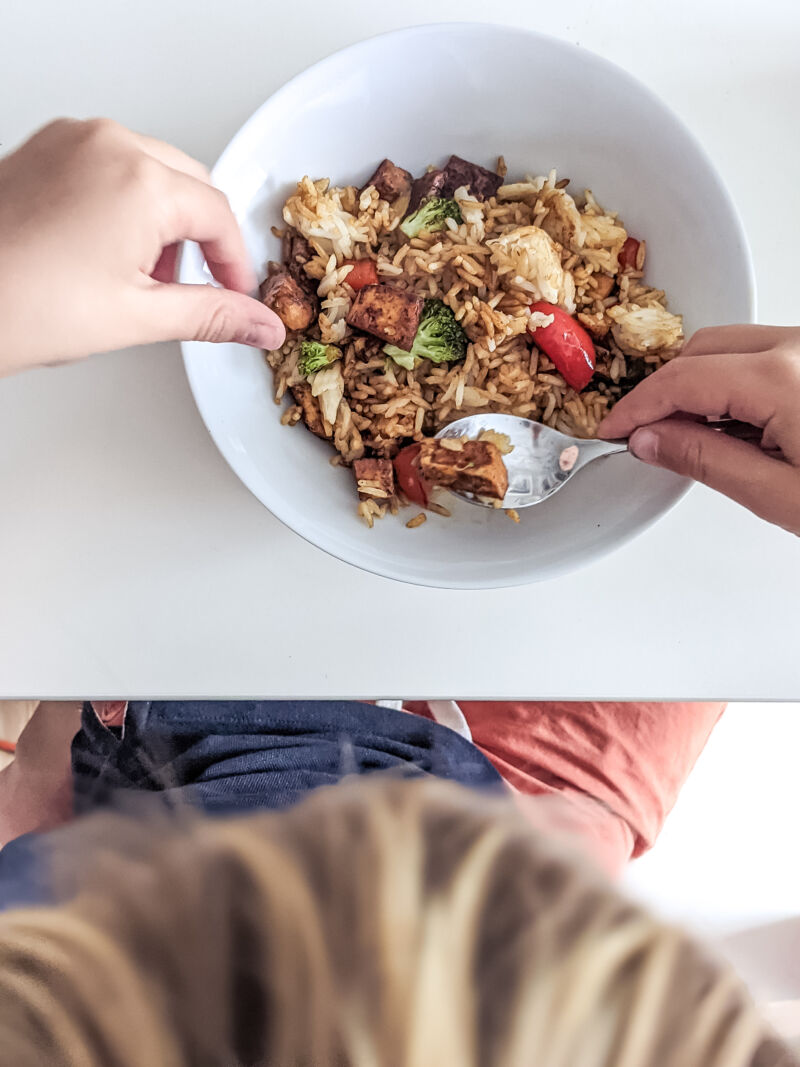 dexter eating tofu fried rice for kids